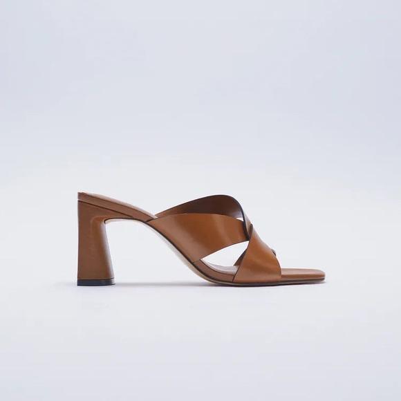 Zara Block Heel Leather Sandals. Size 9